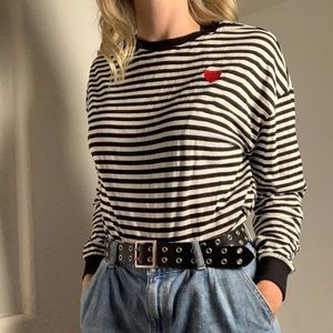 H&M Embroidered Heart Striped Long Sleeve T-Shirt